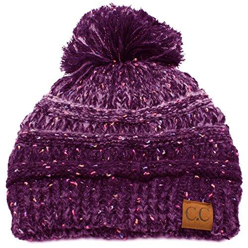 CC Confetti Ombre Big Pom Pom Warm Chunky Soft Stretch Knit Beanie Hat Purple