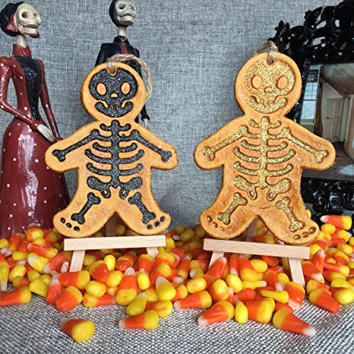 Glitter Skeleton Ornament Orange Black glitter. Holiday, Halloween, Christmas, Day of the Dead DOD, or Gift Ornament. Made with flour, water, salt, shellac and glitter. Handmade in San Antonio Texas. for $<!--$16.00-->