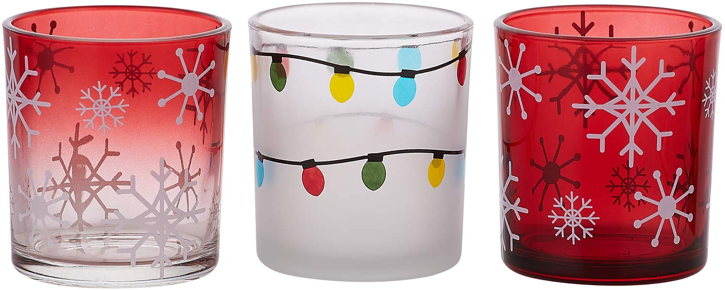 Pavilion Gift Company Snowflake and Christmas Light Red Glass Set of 3 Patterned Tealight Candle Holders 3 Assorted