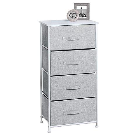 mDesign Cómoda de Tela para organizar armarios con 4 cajones – Mueble Organizador para Dormitorio, vestidor, Oficina y más – Cajoneras para armarios ...