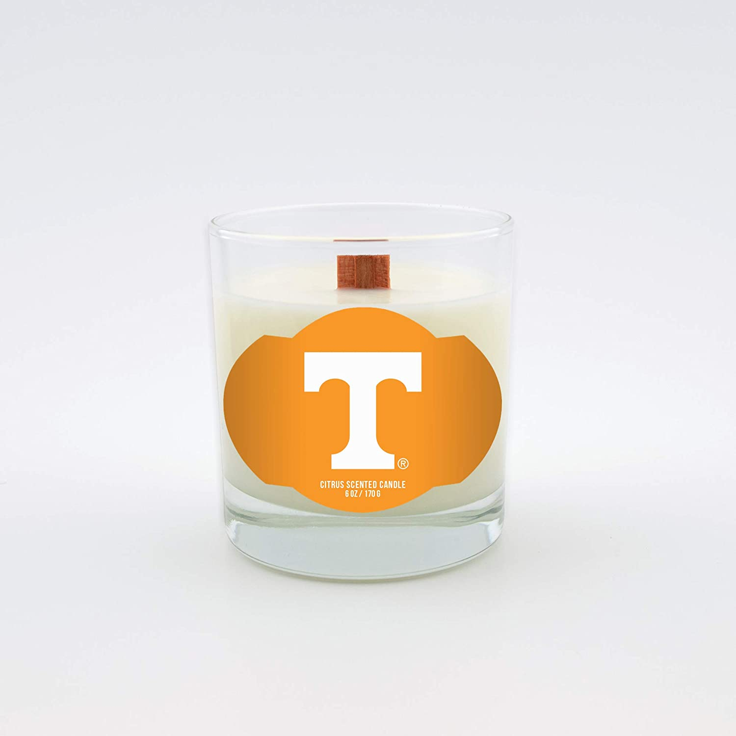 Clear 6-Ounce Worthy Promo NCAA Tennessee Volunteers Citrus 6 oz Soy Wax Candle with Quietly Crackling Wood Wick
