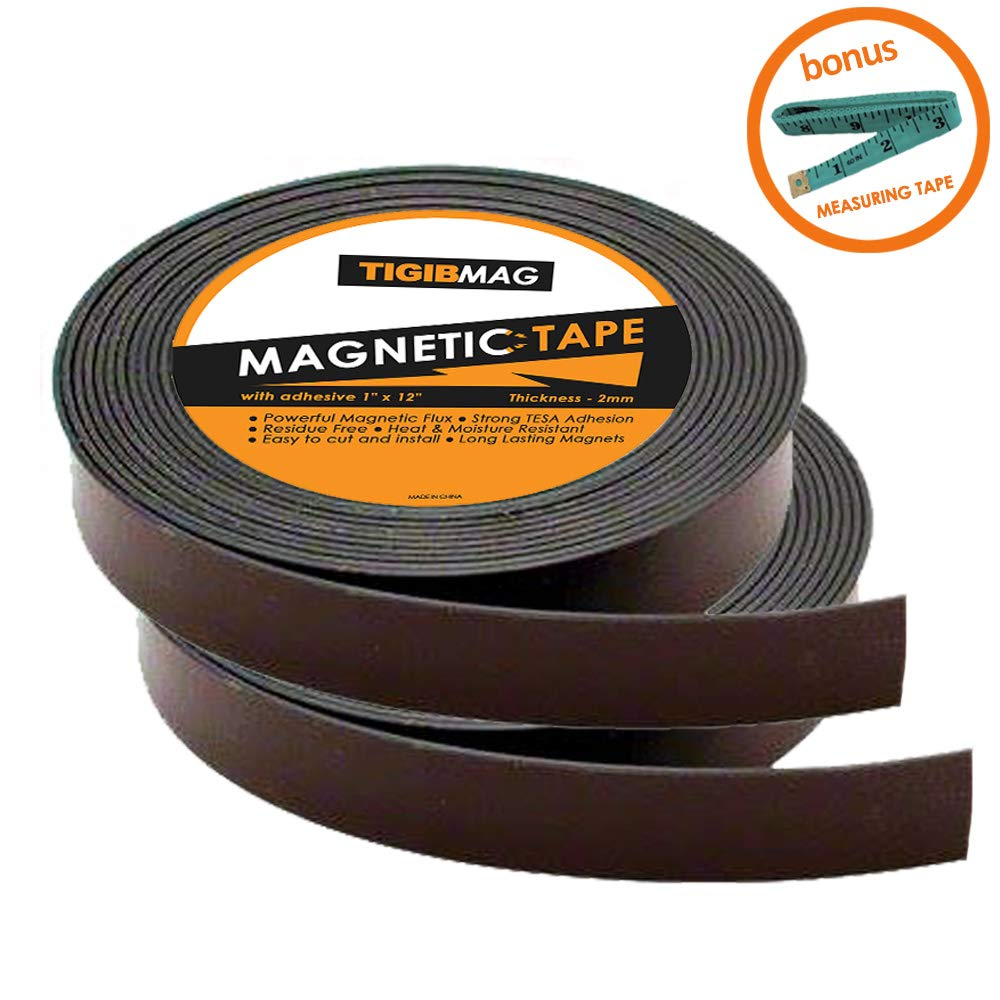 Flexible Magnetic Tape - 2 Pack 1 Inch x 12 Feet Strong Magnetic Strips for Whiteboard with Adhesive Backing - Heavy Duty Sticky Magnets Roll for Dry Erase Board, Classroom, Crafts and DIY Projects by TigibMag
