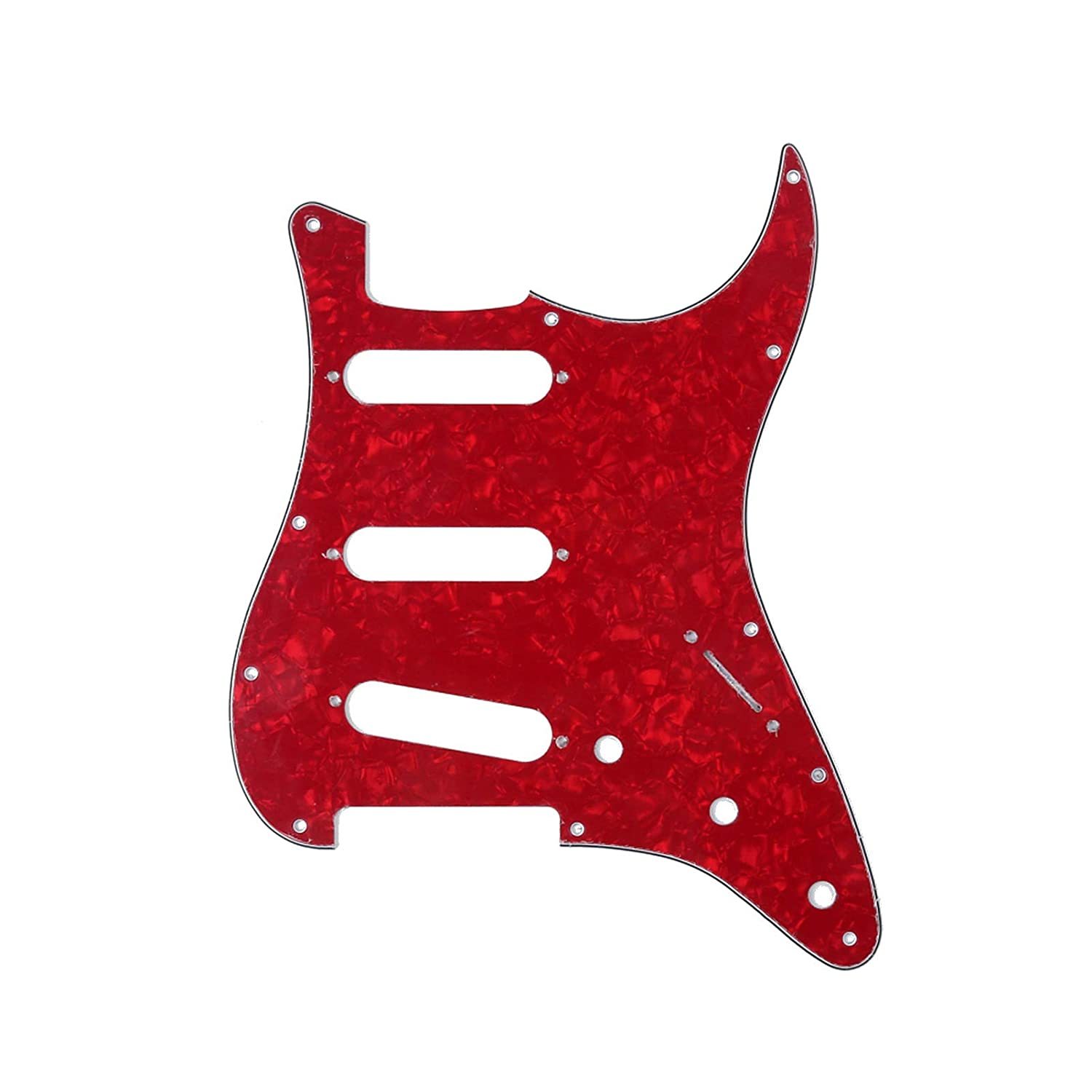 Musiclily SSS 11 Holes Strat Electric Guitar Pickguard for Fender US//Mexico Made Standard Stratocaster Modern Style Guitar Parts,4ply Pearl Green