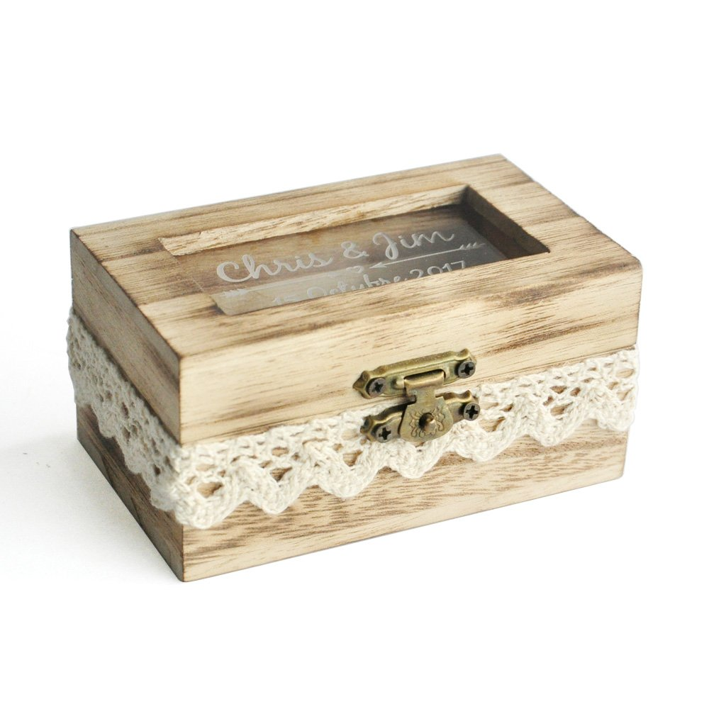 Personalized Wedding Ring Box, Glass Ring Bearer Box,Ring Bearer Pillow, Custom Ring Box