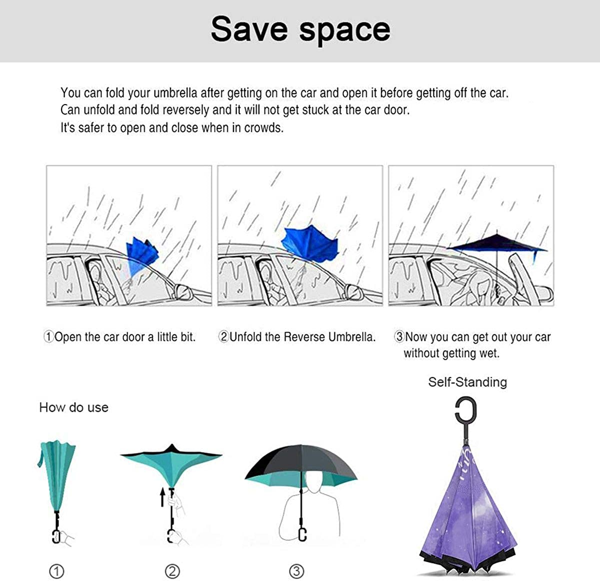 Starry Sky Night Background Reverse Umbrella Double Layer Inverted Umbrellas For Car Rain Outdoor With C-Shaped Handle Customized