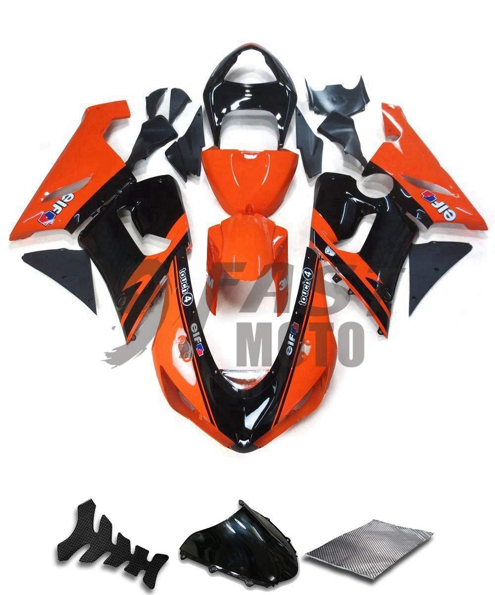 9FastMoto kawasaki カワサキ 2005 2006 ZX6R ZX-6R Ninja 636 05 06 ZX6R Ninja 636 用フェアリング オートバイフェアリングキット ABS 射出成形セット スポーツバイク カウル パネル (オレンジ & ブラック) K0183   B07RQ5FVK8