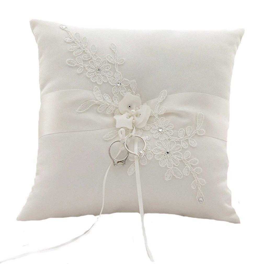 Unbekannt Ringkissen Ivory Elfenbein Hochzeitsaccessoires Kissen fü r Eheringe Ringe Blume Hochzeit Accessoires Noname