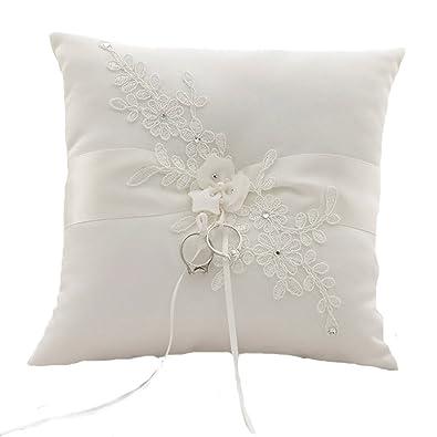 Cojín con Anillos de marfil con flor, accesorios de boda, Cojín para alianzas, anillos de boda, accesorios