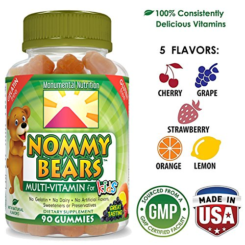 Nommy Bears Gelatin Free Multivitamin Gummies for Kids & Adults Too | Vegetarian Gummy Vitamins for Men, Women, Children | Gluten-Free, 100% Natural, Non-GMO | Kosher & Halal Friendly | 90 ct ()