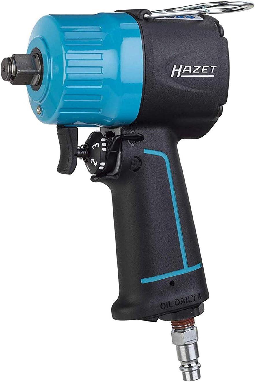 Llave de impacto neumática HAZET (extra corta, par máximo de liberación 1400 Nm, cuadrado 12.5 mm (1/2 pulgada), torque recomendado 620 Nm, percusión doble martillo de alto rendimiento) 9012MT .
