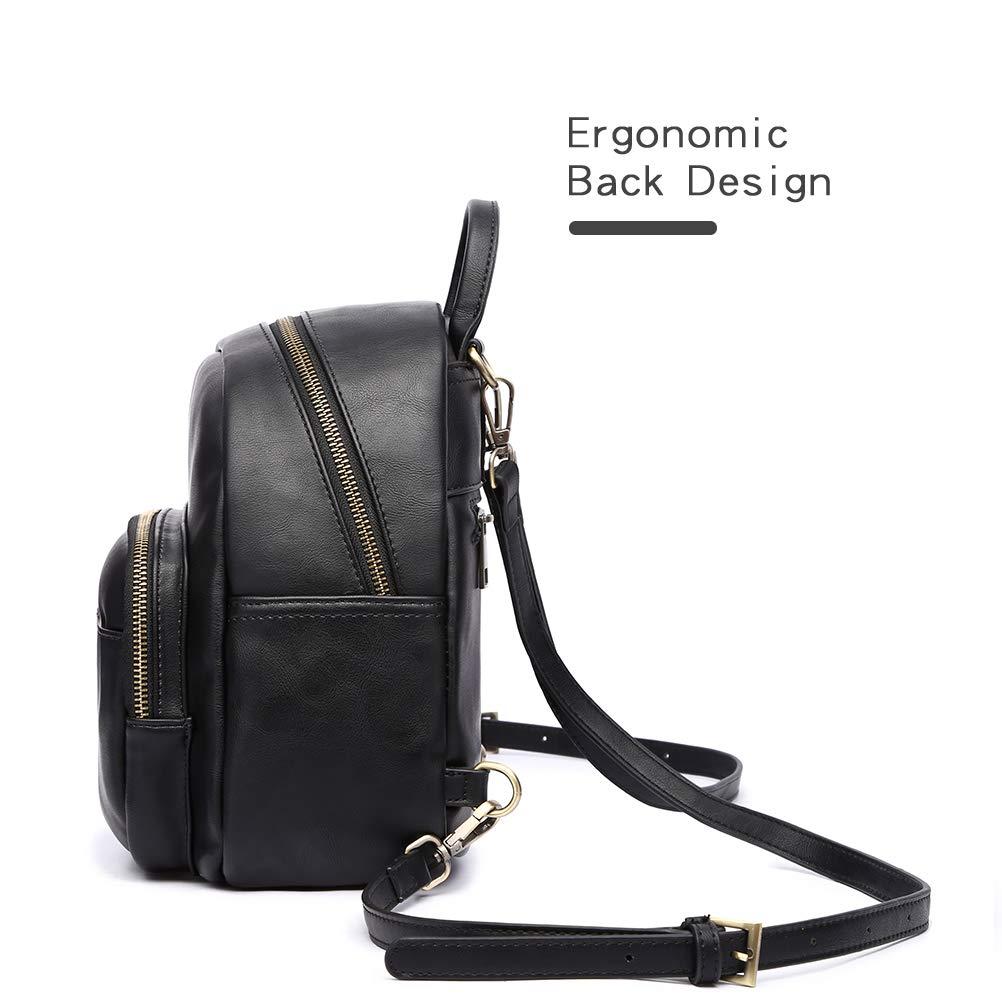 HaloVa Backpack Womens Shoulders Bag Black Mini Daypack Satchel Crossbody Bag