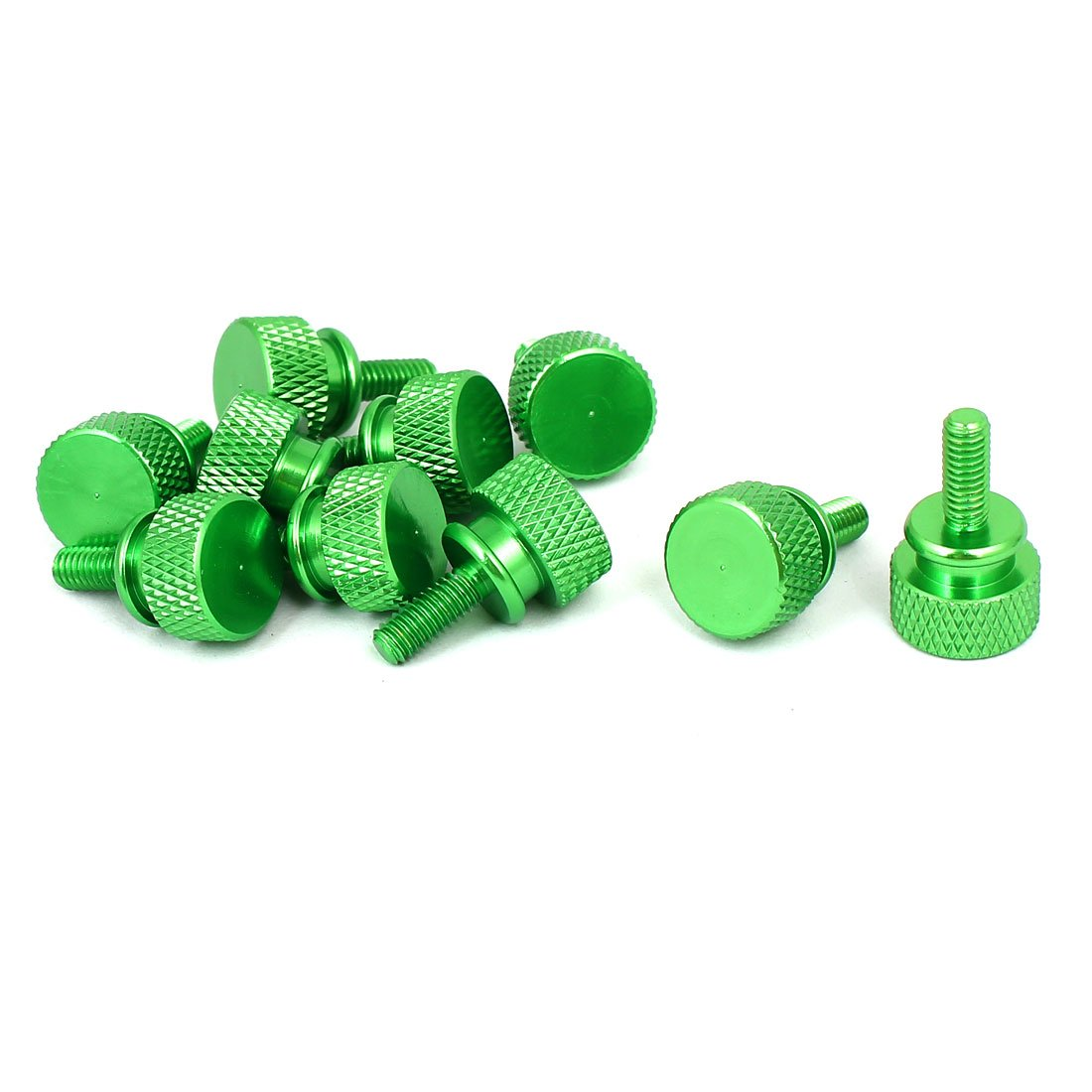 uxcell Computer PC Case M4x10mm Shoulder Type Knurled Thumb Screw Green 10pcs