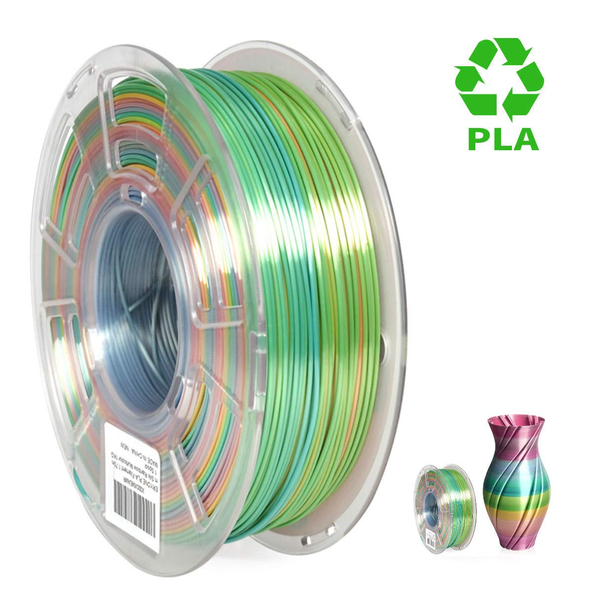 Lagoon and Multicolor PLA Filament for FDM 3D Printer 1kg 1 Spool Rainbow Lagoon Filament PLA 1.75mm Eryone PLA Filament Lagoonbow