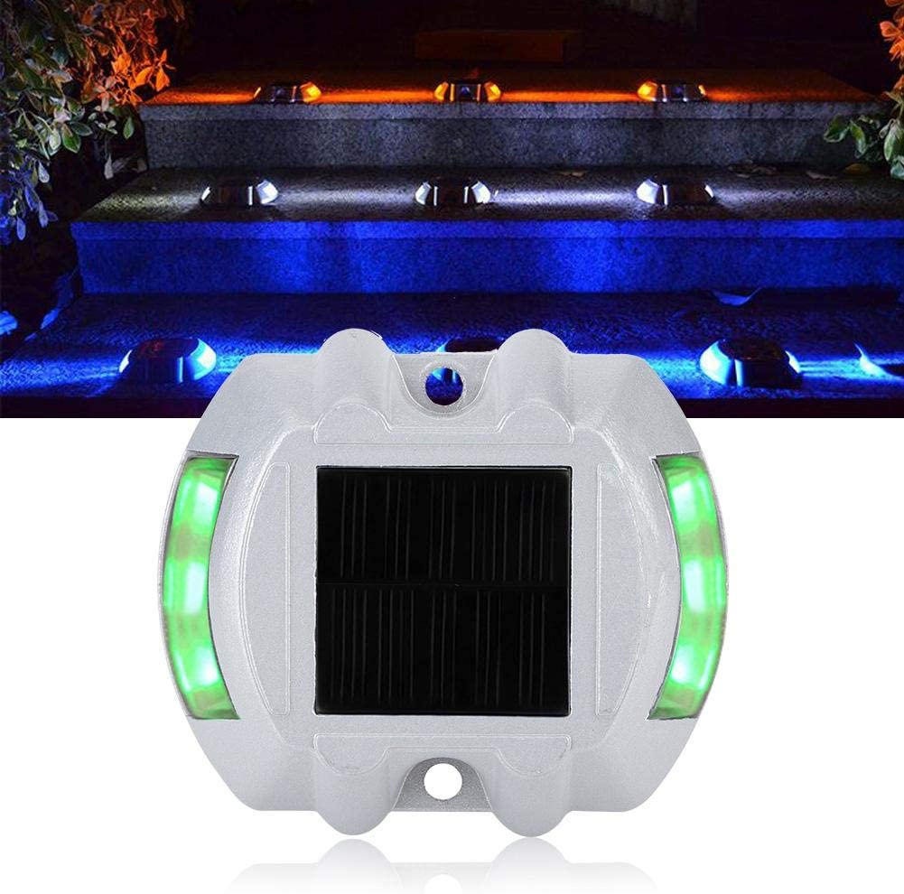 2# 6 LED Solar Powered Deck Lights Solar Powered Outdoor Waterproof Wireless Road Markers Driveway Dock LED Light for Driveway Deck Garden Ground Yard