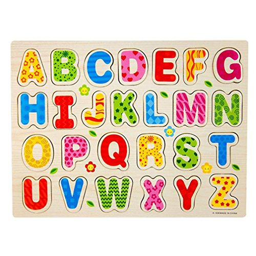 Baby 26 Alphabet Letters Puzzle,Hemlock Kid Cute Wood Playing Jigsaw Education Toys (Colorful)