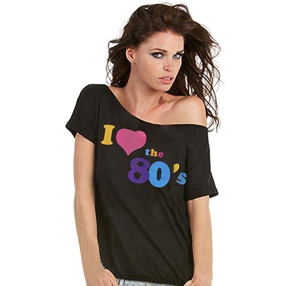 Sky Especially!!! Mujer I Love The 80s Camisa de Manga Corta Impresa Camiseta