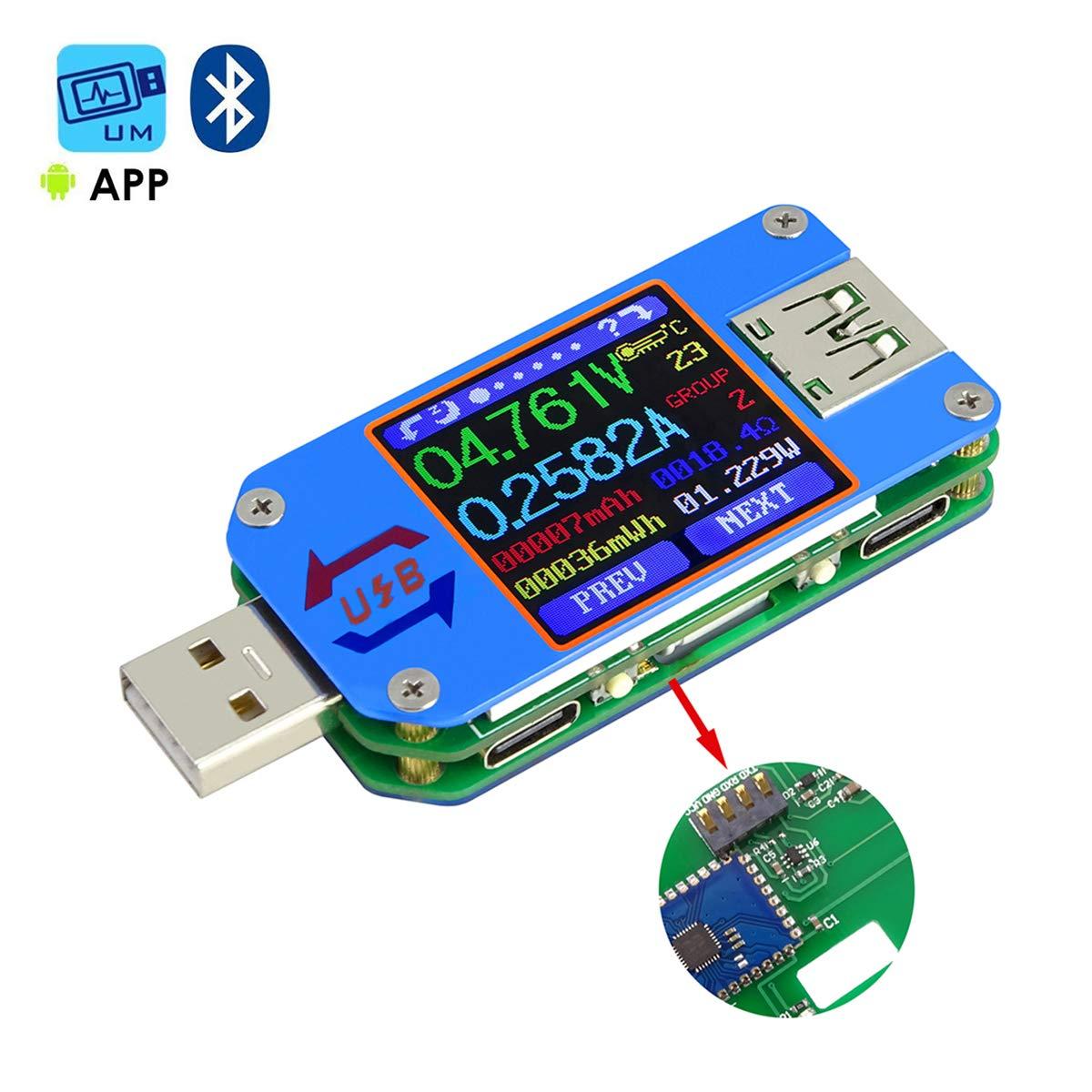 MakerHawk UM25C USB Tester, Bluetooth USB Meter, Type-C Current Meter, USB Power Meter, DC 24.000V 5.0000A, USB Cable Tester, 1.44 inch Color LCD Multimeter, Voltage Tester, USB Load, QC 2.0 QC 3.0