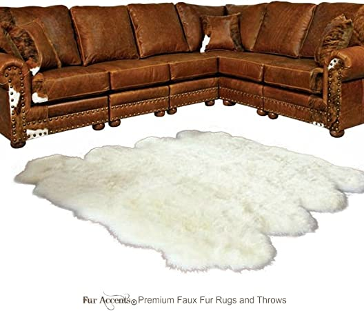 Fur Accents Thick White Shag Sheepskin Faux Flokati Rug Random Multi Pelt Octo Shape Suede Lined 8 x8