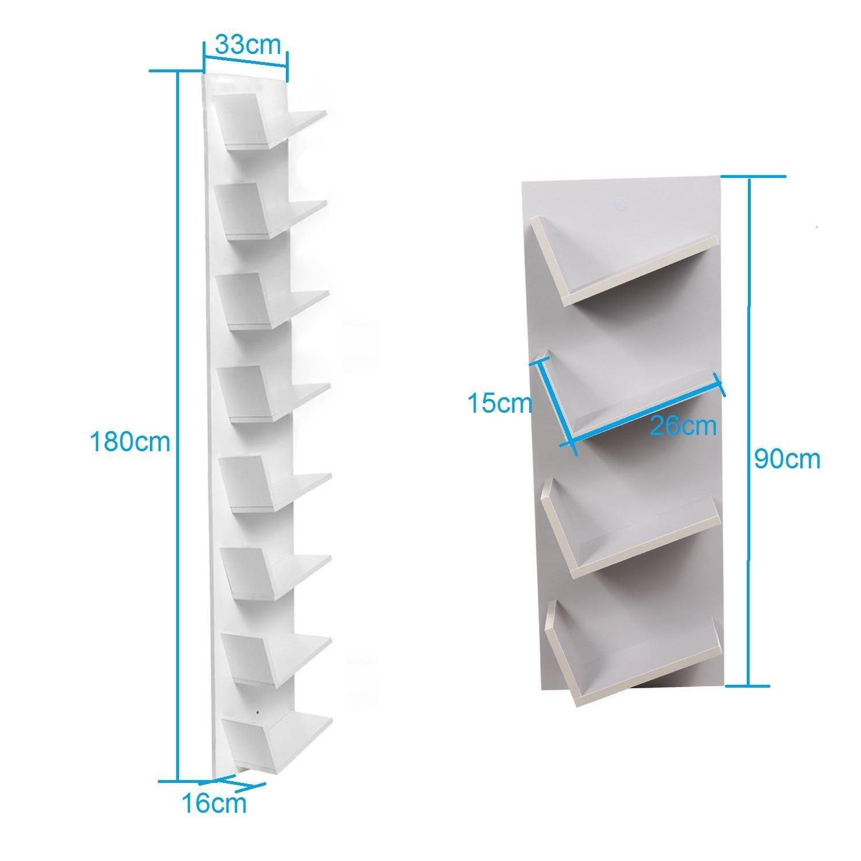 Bulges New Home CD DVD Rack Cabinets Tall Wood Bookcase Bookshelf Storage Shelf Shelves Gray by Bulges (Image #3)