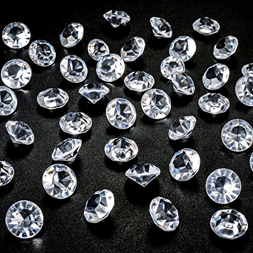 Bingcute 500 12mm Clear Diamond Table Confetti for Wedding Bridal Shower Party Decorations Birthdays,Vase Fillers. Graduations Decorations (6m 8m 10m 12m Choice)]()