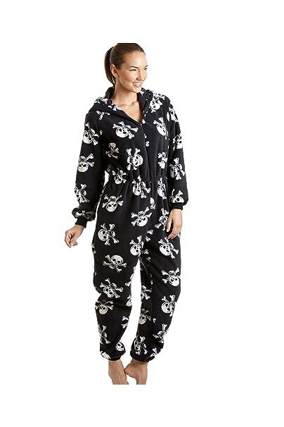 huge discount da956 6be6b Camille Damen Schlafanzug-Einteiler aus Fleece - Totenkopf-Print Schwarz  und Weiß - Größen 38-52