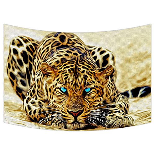Custom Special Effect Leopard with Authentical Blue Eyes Wild Animal Print Tapestry Wall Hanging,Wall Art, Dorm Decor,Wall Tapestries Size 40x60 -