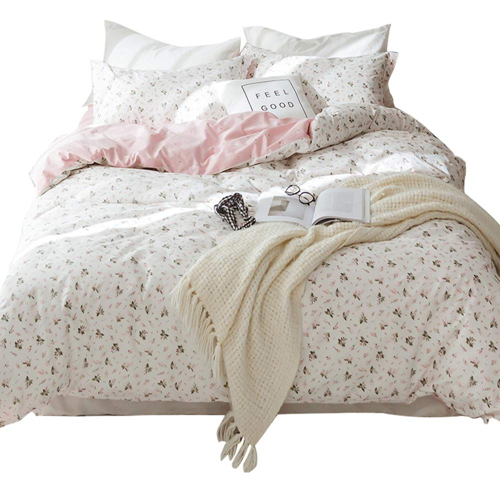 HIGHBUY Reversible Floral Pattern Girls Duvet Cover Set Twin with Zipper Closure Soft Cotton Bedding Sets 3 Pieces White Pink for Kids Bedroom Collection 4 Corner Ties Zipper Closure