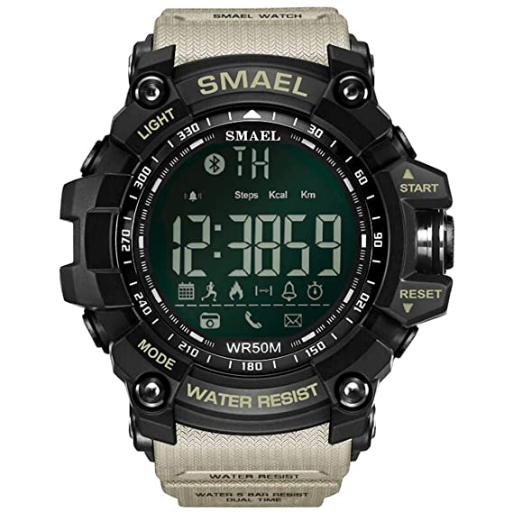 beautygoods Deporte smartwatch Digital, 50 Metros / 164.04ft Natación Deporte Impermeable a Prueba de Golpes Relojes Estilo Ejército Verde Bluetooth ...