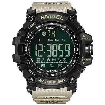 SMAEL Deporte Smartwatch, 50 Metros / 164.04ft Natación Deporte Impermeable A Prueba De Golpes Relojes Estilo Ejército Verde Bluetooth Connect Hombres Reloj ...