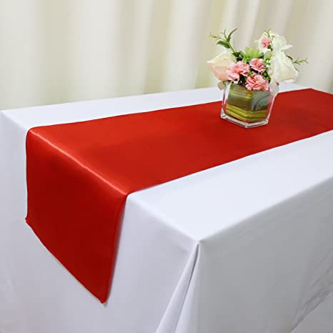 Trlyc 10 Pcs 12x108 In Long Red Satin Table Runners For Wedding Party Table Decoration Accessories Home Textiles Kitchen Dining