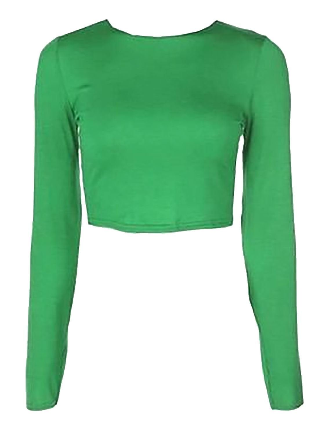 NEW LADIES ROUND NECK LONG SLEEVE CROP TOP T SHIRT TOPS SIZE 8-14