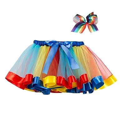Loveablely Falda de tutú Arcoiris de Malla de Verano Falda de ...