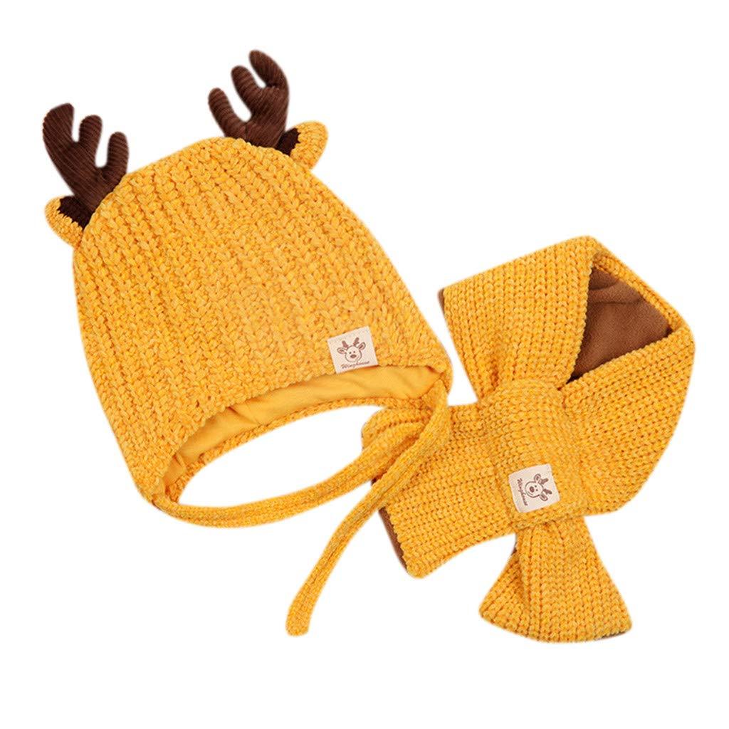 Cappellini Neonato Natale Topgrowth Bimbo Cappellino con Sciarpa Set Invernale Cappelli Bambina Cervo Carina Berretto A Maglia Cappello A Maglia 2Pcs