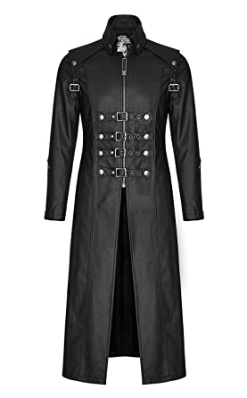 Punk Rave Long Manteau Classe Noir Imitation Cuir Pour Homme Avec
