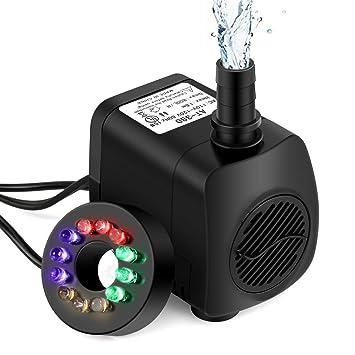 Springbrunnen Pumpe Beleuchtung 12 LED Teichpumpe Tauchpumpe Wasserpumpe 10W DE