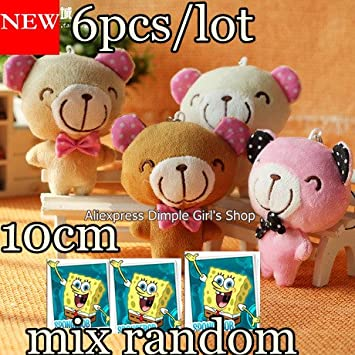 a5e3786eb2b Amazon.com  6pcs lot Wholesale 10cm Mini Doll Small Teddy Bear Plush Toy  For Kids Birthday Party Supplies Decoration Baby Gift  Baby