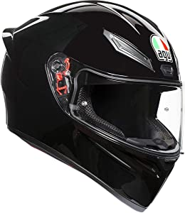 AGV 0101-11765 Unisex-Adult Full Face K-1 Motorcycle Helmet (Black, Medium/Small)