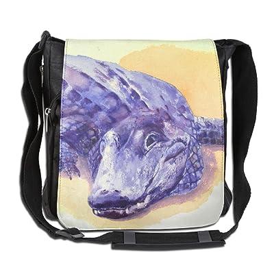 Alligator Watercolor Fashion Print Diagonal Single Shoulder Bag