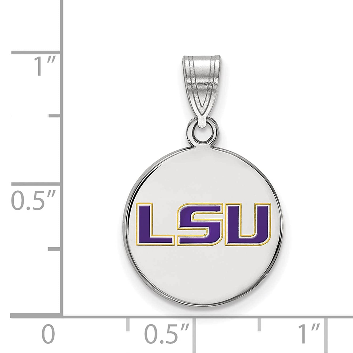 925 Sterling Silver Rhodium-plated Laser-cut Louisiana State University Medium Enameled Disc Pendant