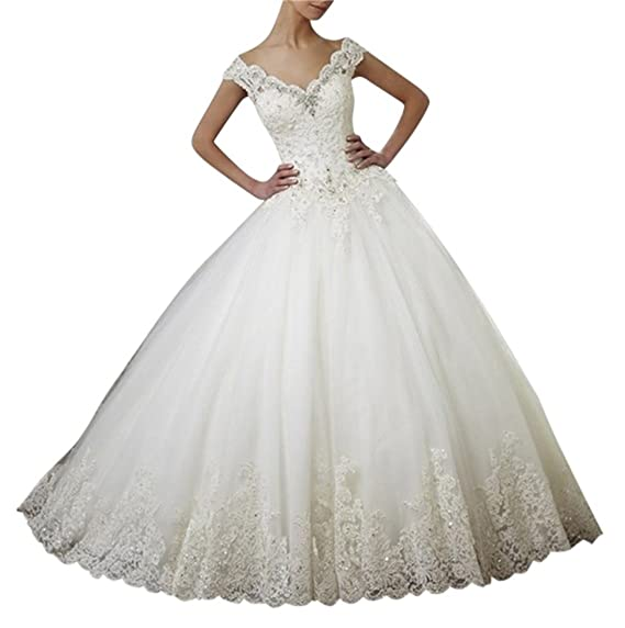 XUYUDITA Women\'s Vintage Lace Off Shoulder Beaded Bridal Dresses ...