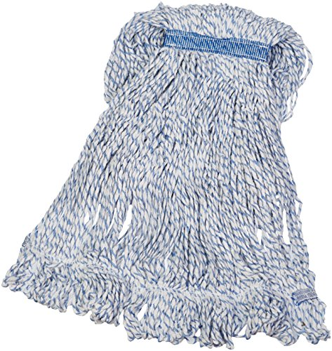 AmazonBasics Loop-End Rayon Finish Commercial String Mop Head, 1.25 Inch Headband, Large, - Synthetic Head Mop