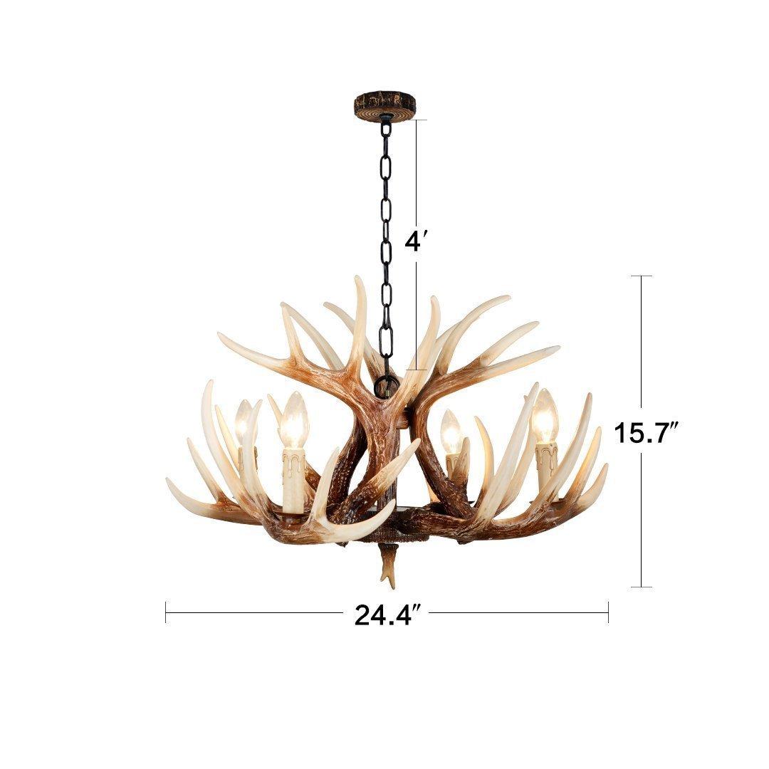 EFFORTINC Vintage Style Resin Deer Horn Antler Chandeliers, 4 Lights ...