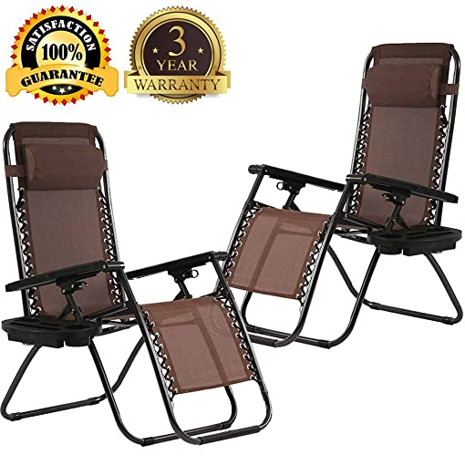 Zero Gravity Chair Patio Lounge Chair Chaise 2 Pack Outdoor Folding Adjustable Heavy Duty Recliner Chairs with Cup Holder and Pillows Hold Up to 330Lbs for Patio, Pool, Beach, Lawn, Yard – Brown