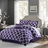 Madison Park Essentials Merritt Full Size Bed Comforter Set Bed In A Bag - Purple/Grey, Geometric – 9 Pieces Bedding Sets – Ultra Soft Microfiber Bedroom Comforters