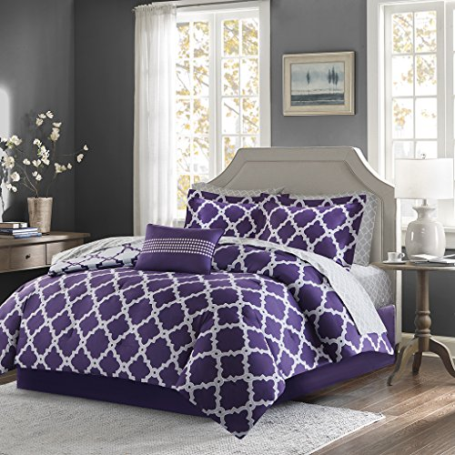 Madison Park Essentials Merritt Complete Bed and Sheet Set Purple/Grey Queen