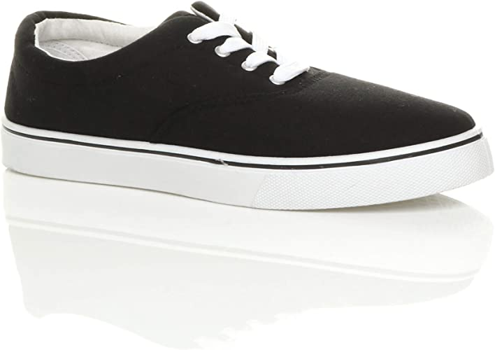 Mens Black Lace Up Canvas Pump Plimsoll Sizes 10,11 /& 12