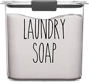 Turquoise - Laundry Soap Vinyl Decal - Skinny Farmhouse Style for Laundry Room - 5w x 5.5h inches - Die Cut Sticker
