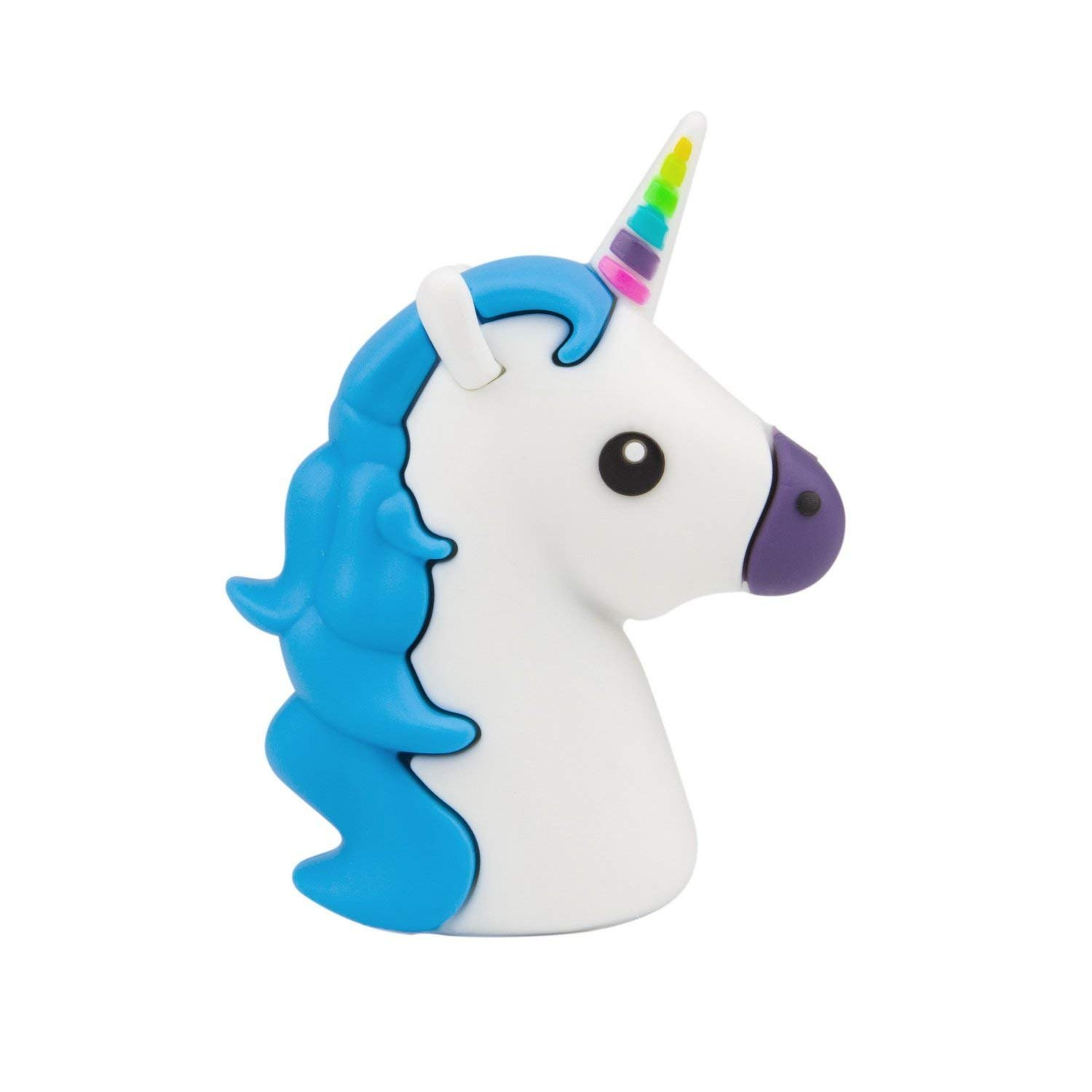 Lightweight Mini Unicorn Emoji Powerbank 2600mah Power Bank External Battery Charger Unicorn Cartoon Portable Backup Pack Compatible With iPhone And Android Smart Phone (Mini Blue Unicorn)