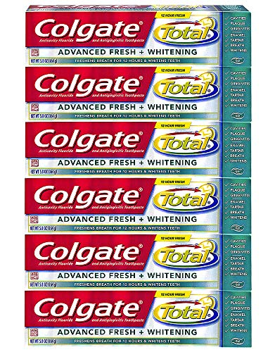 Colgate Total Advanced Fresh Whitening Gel Toothpaste, 5.8-Ounce (Pack of 6)