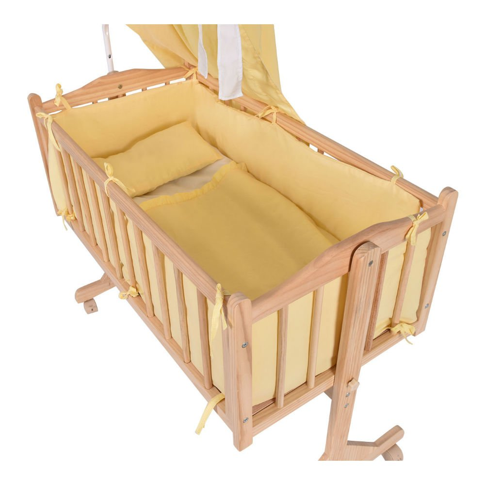 Wood Baby Cradle Rocking Crib Bassinet Bed Sleeper Born Portable Nursery Yellow by Unknown (Image #2)